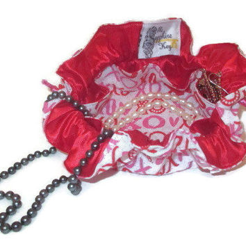Drawstring Travel Jewelry Pouch / Satchel - Red and Pink XO with Red Satin