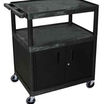 Luxor 2 Shelf Heavy Duty Rolling All Purpose Service Utility Cart With Lockable Storage Cabinet Large Black