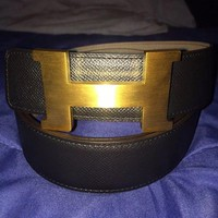 Authentic Hermes Men's 42 mm Gold Buckle 105cm Size 42 - Reversible Black/ Grey