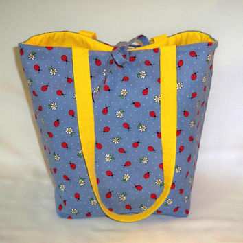 Tote Bag, Blue Ladybug Tote Bag, Blue Cloth Purse, Handmade Handbag, Polka Dots, Flowers, Fabric Bag, Shoulder Bag