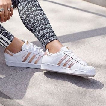 Adidas Fashion Shell-toe Flats Sneakers Sport Shoes White rose golden line