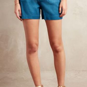 Level 99 Rope-Tie Linen Shorts in Turquoise Size: