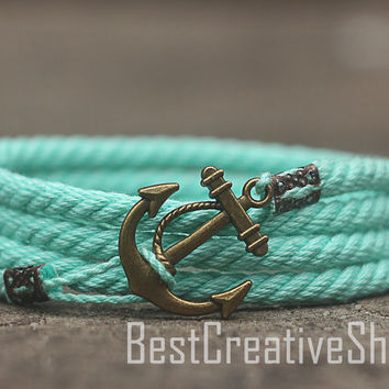 SALE! Anchor Bracelet / Mint Bracelet / Sea Nautical Cotton Bracelet / Marine Rope Bracelet / Mens Bracelet Women and Men Rope Bracelet