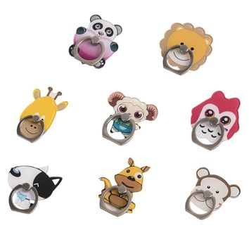 Cartoon animal 360 Degree Finger Ring Pop Mobile Phone Smartphone Stand Holder For Universal Smart Phone Stand