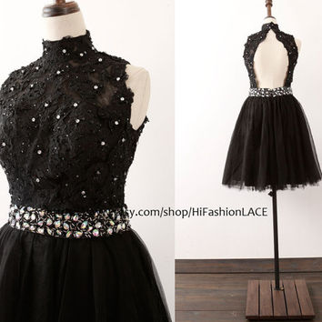 Black Mini Lace Prom Dress, A Line High Neck Short Lace Formal Dress with Open Back, Black Homecoming Dresses, Wedding Pary Dress