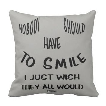 Smile Quote by Kat Worth Throw Pillow