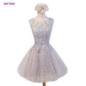 2017 new arrival Silver Women's cocktail party dresses short dress lace-up sexy Scoop-opening back bow lace dress fast shipping