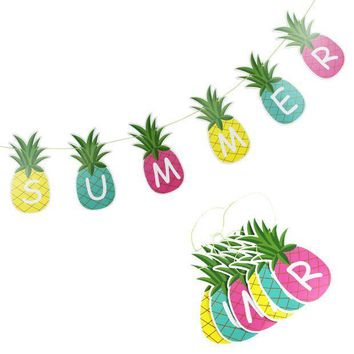 1pc 'summer' Pineapple Garland Bunting Decor Fruit Garland Tropical Hawaiian Birthday Bridal Shower Pool Party Flamingo Decor