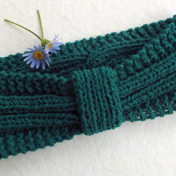Knit Headband Turban Petrol Green,Cotton Headband,Handmade Headband,Spring Summer Headband,Hair Wrap,Knit Women Accessory,Knit Boho Headband
