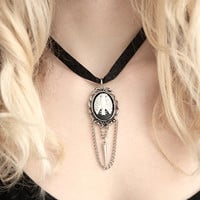 Rib Cage Skeleton Necklace with Spike and Chain