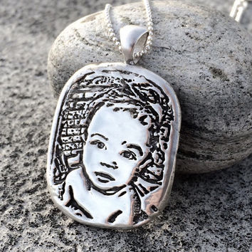 Personalized Photo Locket Pendant - Keepsake Memorial Custom Picture & Lock of Hair Moms Necklace