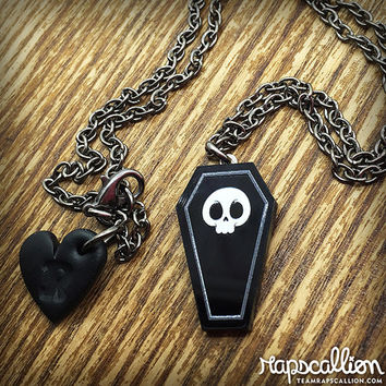 Skull Coffin Acrylic Necklace