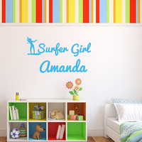 Personalized Surfer Girl Vinyl Wall Decal 22438
