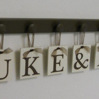 Twin Baby Gifts Personalized for LUKE & LIAM Set includes 9 Brown Wooden Pegs and Hanging Wall Letters