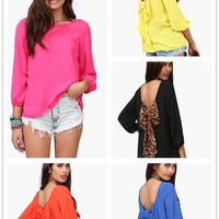 Ladies Big Bowknot Backless Blouse T-Shirt Women Clothing Blusas Chiffon 5 Candy Colors = 5617122625