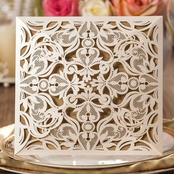 50 pcs Set - Laser Cut Wedding Invitations with Inner Sheet - Floral Theme