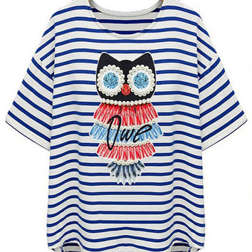 Striped Beaded Owl Print Short Sleeve T-shirt