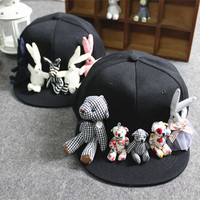 Fashion korean cartoon bear rabbit baseball caps women trendy handmade cute sun hats vacation casual Visor snapback caps 2016