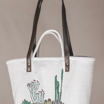 Don't Be A Prick Cactus White Straw Tote Bag