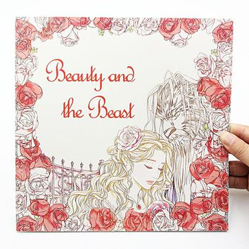 1 PCS New 24 Pages 25*25cm Coloring Books For Kids And Adults Painting Book The Beauty And Beast Coloring Books For Adults