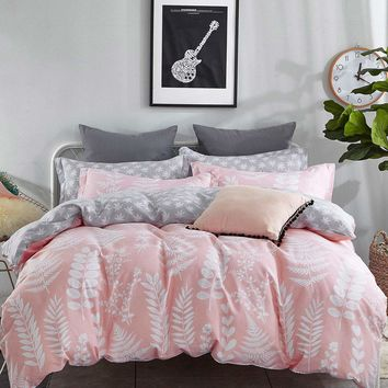 Pink  & Grey Allover Leaf Duvet Cover 1PC