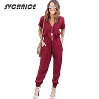 New 2017 Spring Summer Jumpsuit Rompers Womens Jumpsuit Long Pants Adjust Waist Loose Rompers Female Black