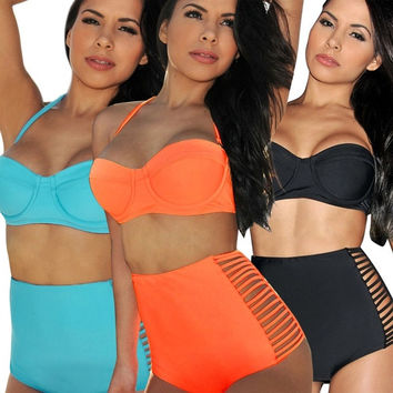 Hot High Waisted Side Slits Push Up Bandeau Bikini Set Sexy Swimsuits Swimwear W_C = 1645854148