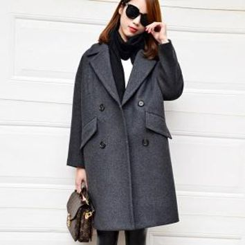 Dark Aqua wool coat 2016 turn down collar long cocoon shape casual winter coat women camel wool coats