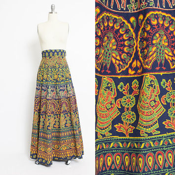 Vintage 1970s Wrap Skirt - INDIAN Cotton Screen PrintedHippie Boho Maxi - Medium