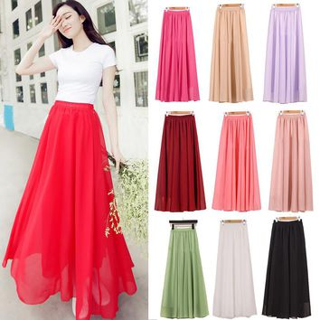 Wholesale Women Chiffon Long Skirts Candy Color Pleated Maxi Skirts Skirts M L XL 17Colors
