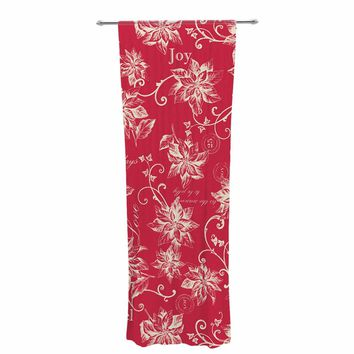 "Jacqueline Milton ""Poinsettia Joy"" Red Holiday Floral Illustration Painting Decorative Sheer Curtain"