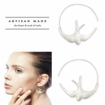 Freedom Bird Artisan Hoop Earrings