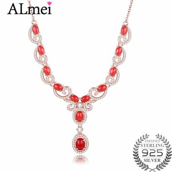 Almei 12pcs Red Beads 0.6ct Coral Lucky Clouds 925 Sterling Silver Rose Gold Color Jewelry Statement Necklace Free Box 40% FN094