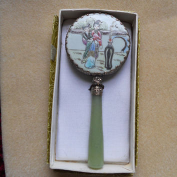 Vintage Chinese, Jade Handle, Hand  Painted Porcelain Back Mirror with Silver Trim...