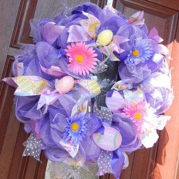 Easter Deco Mesh Wreath, Purple Easter Wreath, Purple Deco Mesh Wreath, Easter Egg Wreath, Spring Wreath, Flower Wreath, Spring Decor