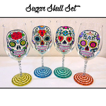 Sugar Skull Wine Glasses, Day of the Dead, Wine Glasses, Dia De Los Muertos, Dinnerware, Hand Painted Wine Glass, Calavera Glass, Skull Art