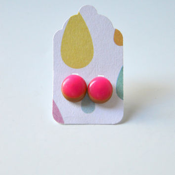 Stud Earrings - Neon Pink and Light Brown Stud Earrings - Tiny Stud Earrings - Post Earrings - Colorful Earrings - Handmade Enamel Studs