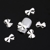 Vip Beauty Shop White Bow Tie 10 Pieces Silver 3d Alloy Nail Art Slices Glitters DIY Decorations