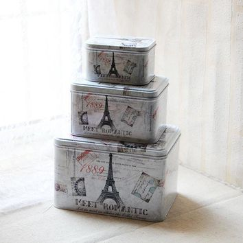DCCKJG2 3pcs/lot Iron Tin Box Eiffel Tower in France for Fashion zakka trinket storage & home decoration food cookie makeup storage box
