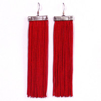Fringe Earrings. Long Earrings. Dangle Red Earrings.