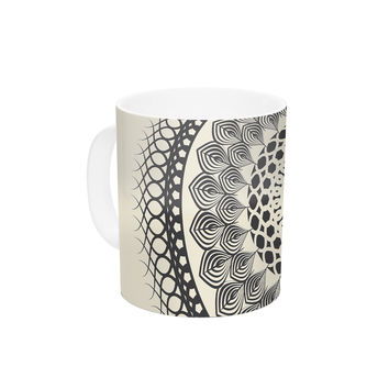 "Famenxt ""Black & White Boho Mandala"" Geometric Ceramic Coffee Mug"