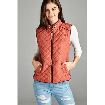 Quilted Fall Vest - Rust