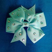 Pair of Crystal Blue Hair Bows
