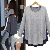 Loose chiffon stitching T-shirt