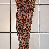 "Piarry Leopard Print Stretch Lycra  4.5"" Heel Thigh High Boot Size 7"