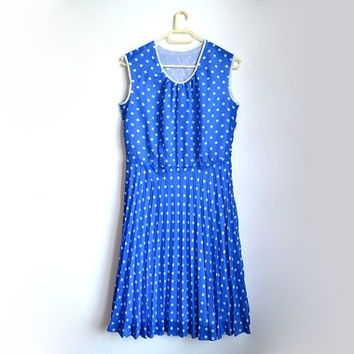 Vintage Blue Polka Dot Summer Pleated Dress 50s 1950s 60s 1960s Sleeveless Midi Tea Length Small S