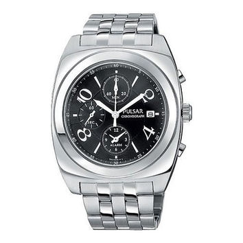 Pulsar PF3289 Men's Black Dial Stainless Steel Alarm Chronograph Watch