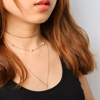 171201 Fashionable Multi Layer Pearl Crystal Thin Necklace X0079