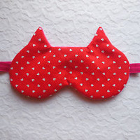 Valentine's Day Sleep Mask Teen Gift Eye Shade Hearts Red Pink Blindfold Nap NEW