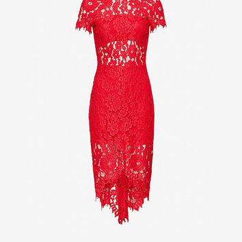 Alexis Elsen Lace Dress: Red at INTERMIX | Shop Now | Shop IntermixOnline.com